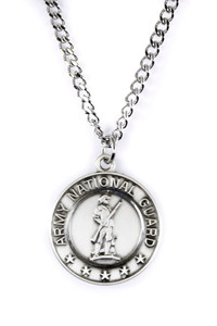 Sterling Silver Saint Christopher Protect Me Military Medal, 3/4 Inch (Army National Guard)