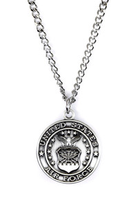Sterling Silver Saint Christopher Protect Me Military Medal, 3/4 Inch (US Air Force)