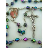"Black Prayer Bead 19"" Rosary with Saint Pope John Paul II Center and Papal Crucifix"