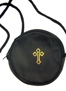 Mens Womens Catholic Gift Round Black Leather Gold Stamped Budded Cross Rosary or Pyx Holder Case with Strap