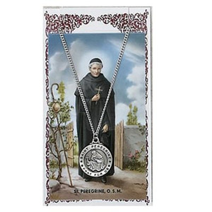 Saint Peregrine 3/4-inch Pewter Medal Pendant Necklace with Holy Prayer Card