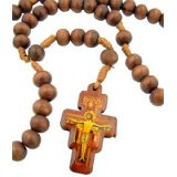Mens Womens Catholic Gift 8mm Wood Bead Saint St Francis of Assisi San Damiano