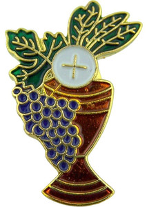 Chalice with Grapes and Wheat 1 Inch Gold Plate with Enamel First Communion Lapel Pin