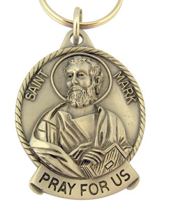 Pewter Saint St Mark Pray for Us Medal Key Chain, 2 Inch