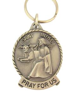 Pewter Saint St Luke Pray for Us Medal Key Chain, 2 Inch