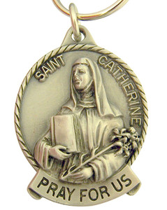 Pewter Saint St Catherine Pray for Us Medal Key Chain, 2 Inch