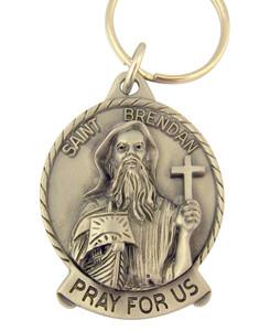 Pewter Saint St Brendan Pray for Us Medal Key Chain, 2 Inch