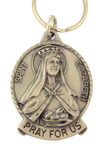 Pewter Saint St Elizabeth Pray for Us Medal Key Chain, 2 Inch