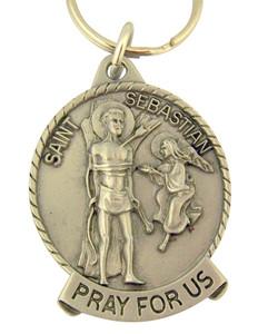 Pewter Saint St Sebastian Pray for Us Medal Key Chain, 2 Inch