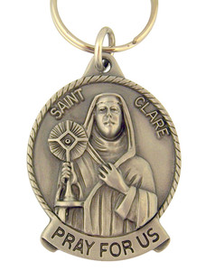 Pewter Saint St Clare Pray for Us Medal Key Chain, 2 Inch