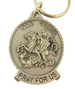 Pewter Saint St George Pray for Us Medal Key Chain, 2 Inch