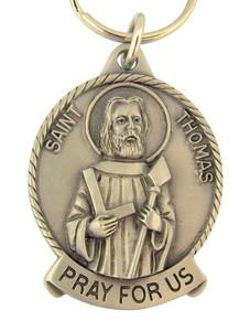 Pewter Saint St Thomas Pray for Us Medal Key Chain, 2 Inch