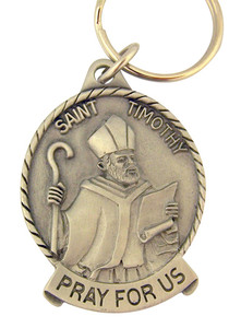 Pewter Saint St Timothy Pray for Us Medal Key Chain, 2 Inch