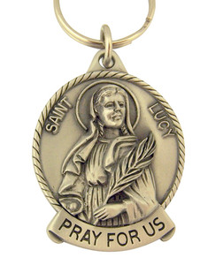Pewter Saint St Lucy Pray for Us Medal Key Chain, 2 Inch