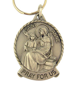 Pewter Saint St Anne Pray for Us Medal Key Chain, 2 Inch