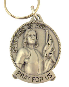 Pewter Saint St Joan of Arc Pray for Us Medal Key Chain, 2 Inch