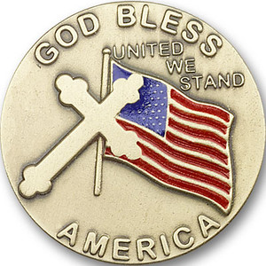 Antique Gold God Bless America Visor Clip