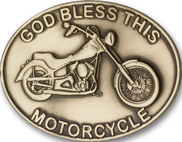 Antique Gold God Bless This Motorcycle Visor Clip