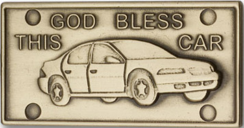 Antique Gold God Bless This Car Visor Clip