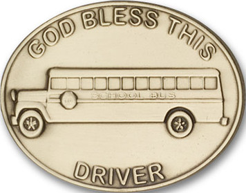 Antique Gold God Bless This Bus Driver Visor Clip