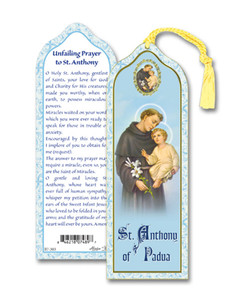 Laminated Saint St Anthony of Padua Bookmark with Gold Foil Stamping and Enameled Medal, Pack of 10
