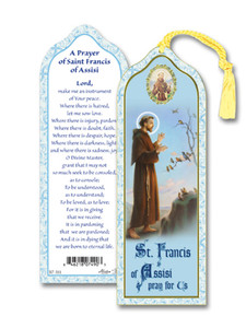 Laminated Saint St Francis of Assisi Bookmark with Gold Foil Stamping and Enameled Medal, Pack of 10