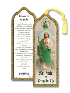Laminated Saint St Jude Bookmark with Gold Foil Stamping and Enameled Medal, Pack of 10
