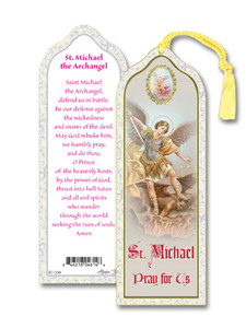 Laminated Saint St Michael Bookmark with Gold Foil Stamping and Enameled Medal, Pack of 10