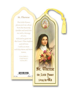 Laminated Saint St Therese the Little Flower Bookmark with Gold Foil Stamping and Enameled Medal, Pack of 10