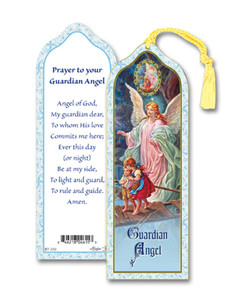 Laminated Guardian Angel of God Bookmark with Gold Foil Stamping and Enameled Medal, Pack of 10