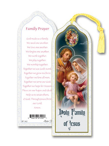 Laminated Holy Family of Jesus Bookmark with Gold Foil Stamping and Enameled Medal, Pack of 10