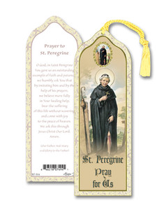 Laminated Saint St Peregrine Bookmark with Gold Foil Stamping and Enameled Medal, Pack of 10
