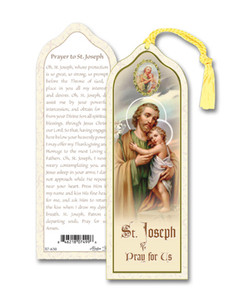 Laminated Saint St Joseph with Child Bookmark with Gold Foil Stamping and Enameled Medal, Pack of 10
