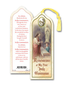 Laminated My First Holy Communion Boy Bookmark with Gold Foil Stamping and Enameled Medal, Pack of 10
