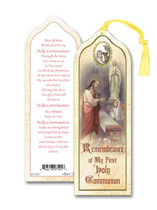 Laminated My First Holy Communion Girl Bookmark with Gold Foil Stamping and Enameled Medal, Pack of 10