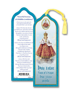 Laminated Holy Infant Jesus of Prague Bookmark with Gold Foil Stamping and Enameled Medal, Pack of 10