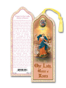 Laminated Our Lady Untier of Knots Bookmark with Gold Foil Stamping and Enameled Medal, Pack of 10
