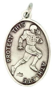 Saint St Sebastian 1 1/16 Inch Sterling Silver Medal for Football Athlete