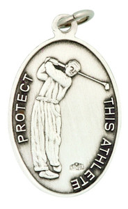 Saint St Sebastian 1 1/16 Inch Sterling Silver Medal for Golf Athlete