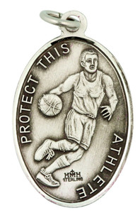 Saint St Sebastian 1 1/16 Inch Sterling Silver Medal for Basketball Athlete