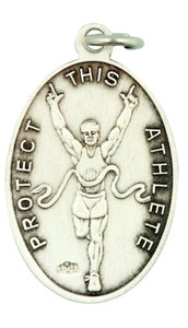 Saint St Sebastian 1 1/16 Inch Sterling Silver Medal for Track Athlete