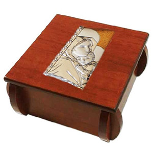 Madonna of the Streets Laminated Silver Icon on Wood 3 Inch Wooden Rosary Box