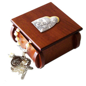 The Nativity of Christ Laminated Silver Icon on Wood 3 Inch Wooden Rosary Box
