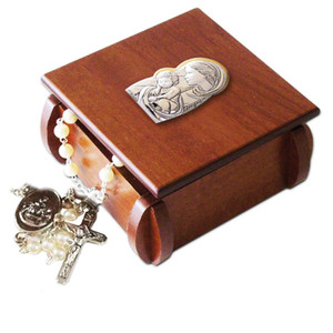 "Saint Virgin Mary with Christ Laminated Silver Icon on Wood 3"" Wooden Rosary Box"