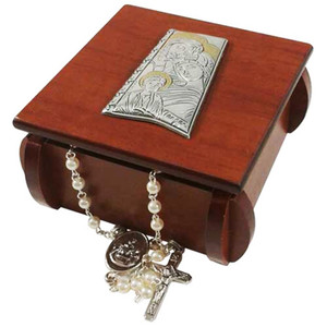 Holy Family and Child Jesus Laminated Silver Icon on Wood 3 Inch Wooden Rosary Box