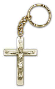 Antique Gold Crucifix Keychain