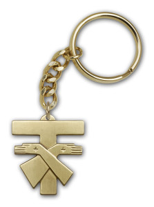 Antique Gold Franciscan Cross Keychain