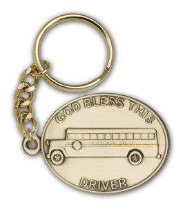 Antique Gold God Bless This Bus Driver Keychain