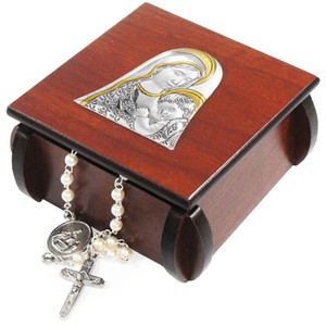 Madonna with Child Laminated Silver Icon on Wood 3 Inch Wooden Rosary Box