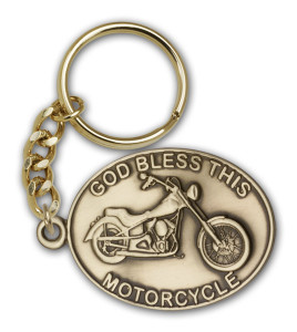Antique Gold God Bless This Motorcycle Keychain